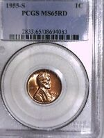 1955 S LINCOLN WHEAT CENT PCGS MS 65 RD  08694083