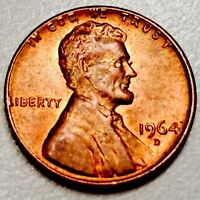 1964 D 1C LINCOLN PENNY DARK COPPER TONING