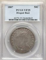 1807 DRAPED BUST SILVER HALF DOLLAR PCGS VF25 TYPE COIN OVERTON