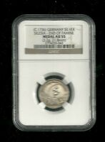 GERMANY SILESIA SILVER MEDAL C1736  END OF FAMINE NGC AU55 21.8MM LY
