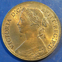 1860 D VICTORIA BRONZE FARTHING.  BEADED BORDER TOP GRADE