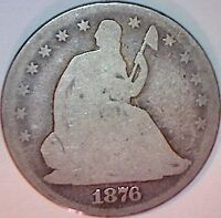 1876 CC SEATED LIBERTY HALF DOLLAR   CARSON CITY SILVER