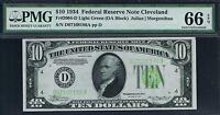$10 1934 CLEVELAND FRN. LIGHT GREEN SEAL  LGS . PMG 66 EPQ. TOP POP.