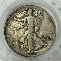 1943-D SILVER WALKING LIBERTY HALF DOLLAR  OLD US COIN A2824