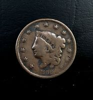 1836 1C CORONET HEAD LARGE CENT COPPER COIN
