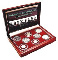 TWILIGHT OF THE MONARCHIES 1900 1974 A COLLECTION OF 8 COINS BEAUTIFLY BOXED