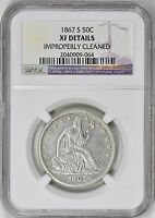 1867 S SEATED LIBERTY HALF DOLLAR NGC XF DETAILS