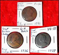 GREAT BRITAIN FARTHING COIN SET  1731 1736 1737 COLLECTION: EARLY CENT/PENNY