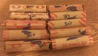 500 10 ROLLS $5 LINCOLN WHEAT 1 CENTS PENNIES PENNYS ALL 1930S PENNY ROLL CENT