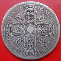 1676 CROWN. V. OCTAVO EDGE. CHARLES 11 BRITISH EARLY MILLED COINS.