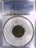 1865 INDIAN HEAD CENT PCGS AG 03 RPD FS 303 S 3 FS 007.5 27769533