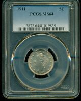 1911 PCGS MINT STATE 64 LIBERTY V NICKEL