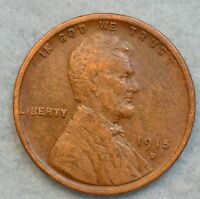 1915 D LINCOLN WHEAT CENT PENNY GREAT DETAILS DENVER MINT FAST S&H 330