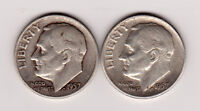 1957 D ROOSEVELT 90 SILVER DIME LOT OF 2 CIRCULATED SHIPS FREE