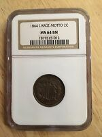 1864 NGC LARGE MOTTO 2C MINT STATE 64 BN