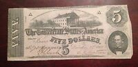 1862 CONFEDERATE $5 NOTE FROM RICHMOND IN XF CONDITION