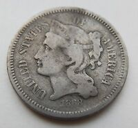 1868     3 CENT NICKEL   3 THREE 3CN COIN