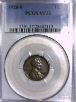 1928 S LINCOLN WHEAT CENT PCGS VF 35 28602410