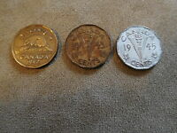 CANADA NICKEL 3 DIFFERENT WAR ISSUE 1942 TOMBAC 1943  1945 5 CENTS COIN MONEY