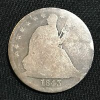 1843 O NEW ORLEANS MINT SILVER SEATED HALF DOLLAR