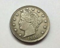 HIGH GRADE 1910 LIBERTY HEAD V NICKEL U.S. COIN  FREE BUBBLE SHIP W TRACKING