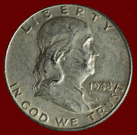 1948 P FRANKLIN 90 SILVER HALF DOLLAR SHIPS FREE. BUY 5 FOR $2 OFF