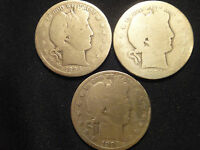 1894 P D S CIRCULATED BARBER HALVES ALL 3 COINS FOR 1 PRICE