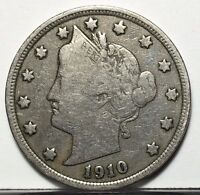 1910 LIBERTY V NICKEL U.S. COIN  FREE BUBBLE SHIPPING WITH TRACKING