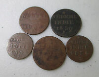 5 NETHERLANDS EAST INDIES 1800'S COINS