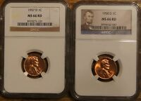 1957 D & 1958 D LINCOLN CENTS GRADED BY NGC MS 66 RED 3919271 121 3974162 047