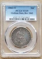 1842 O SEATED HALF DOLLAR  MEDIUM DATE REVERSE OF 1842 PCGS VF35