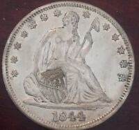 1844 50C LIBERTY SEATED HALF DOLLAR ALMOST UNCIRCULATED 0319