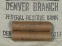 ONE    LINCOLN WHEAT PENNY ROLL 50 CENTS   1909 1958 P D S