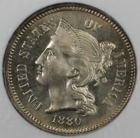 1880 3C NICKEL NGC PF 64