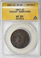 1827 CORONET HEAD LARGE CENT ANACS VF-20 DETAILS
