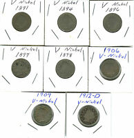 8-LOT OF LIBERTY HEAD OR V NICKELS 1891,1894,1896,1897,1898,1906,1909,1912-D