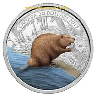 2015 $20 FINE SILVER COIN BEAVER AT WORK