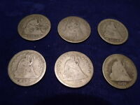 LOT OF 6 SEATED LIBERTY QUARTERS 1853 2 1854 1856 1876 1877  OLD US COIN LOT