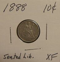 1888 SEATED LIBERTY DIME 10C OVER 120 YEARS OLD  XF LY FINE