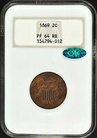 1869 2-CENT PIECE NGC PF64 RB CAC