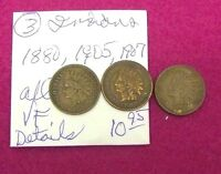 INDIAN HEAD CENTS   VF  3 COIN LOT  1880 1905 AND 1907  WITH  DETAILS