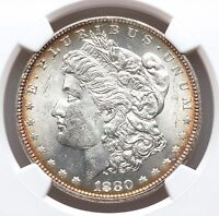 1880 O NGC MS62 MORGAN DOLLAR BRIGHT WHITE LUSTROUS BETTER DATE TONED EDGES