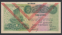SYRIA 1 LIVRE 1939  VG F  P. 40   BANKNOTE CIRCULATED