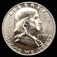 1958 D FRANKLIN HALF DOLLAR BU  BEAUTIFUL MS FBL . I WILL COMBINE SHIPPING