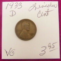 1933 D   LINCOLN WHEAT CENT  VG