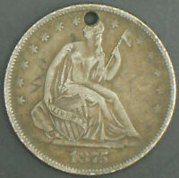 1875 S SEATED LIBERTY SILVER HALF DOLLAR LOW MINTAGE.