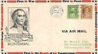 705 1C WASHINGTON BICENTENNIAL, FIRST DAY COVER CACHET [Q179371]