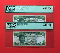 SWAZILAND -SET OF SEQUENTIAL UNCIRCULATED 1992 -5 EMALANGENI PCGS 64 PPQ .