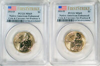 2014 D NATIVE AMERICAN ENHANCED SACAGAWEA $1 2 COIN SET POSITION A  B PCGS MS69