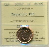 2006P CANADA SMALL CENT RED ICCS MS 65 MAGNETIC